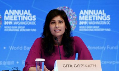 """Gita Gopinath, IMF Chief Economist and Director of the Research Department,  speaks at a briefing  during the IMF and  World Bank Fall Meetings on October 15, 2019 in Washington, DC - The world economy is slowing to its weakest pace since the global financial crisis, amid continuing trade conflicts that have undercut business confidence and investment, the IMF said Tuesday. It cut the growth forecast for 2019 to 3.0 percent in its latest World Economic Outlook report, and lowered the 2020 estimate to 3.4 percent. The report warned that the global economy is experiencing """"a synchronized slowdown and uncertain recovery.""""International Monetary Fund chief economist Gita Gopinath said """"the global outlook remains precarious"""" and warned """"there is no room for policy mistakes."""" (Photo by Olivier Douliery / AFP) (Photo by OLIVIER DOULIERY/AFP via Getty Images)"""