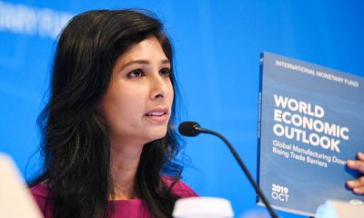 WASHINGTON, Oct. 15, 2019 (Xinhua) -- International Monetary Fund (IMF) chief economist Gita Gopinath speaks during a press conference in Washington D.C., the United States, on Oct. 15, 2019. The International Monetary Fund (IMF) on Tuesday lowered its global growth forecast for 2019 to 3 percent in the newly-released World Economic Outlook (WEO) report, down 0.2 percentage point from its estimation in July. (Xinhua/Liu Jie/IANS)